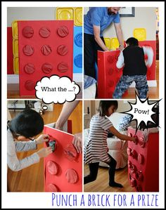 Punch-a-brick for lego party Easy DIY