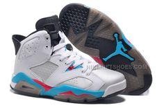 eaa44d74daff Womens New Air Jordan 6 Girls Retro White Blue Red
