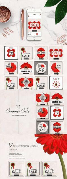 Banner Template, Summer Sale, Packing, Templates, Simple, Floral, Instagram, Bag Packaging, Stencils