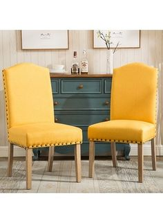 Mod Urban Style Solid Wood Nailhead Fabric Padded Parson Chair Upholstery: Yellow at Wayfair