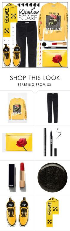 """""""Wrapper's Delight: Winter Scarf"""" by pat912 ❤ liked on Polyvore featuring Loewe, Chanel, Balmain, Dr. Martens, Off-White, polyvoreeditorial and winterscarf"""