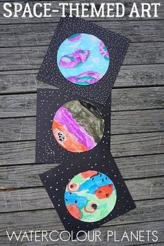 Watercolour Planets Space Themed Art for Kids is part of Preschool art projects - Get creative with this spacethemed art project for kids inspired by literature to create an imaginative set of watercolour planets Arte Elemental, Classe D'art, Space Preschool, Outer Space Crafts For Kids, Space Kids, Kids Inspire, Art Classroom, Classroom Art Projects, Preschool Classroom