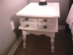 Repainted maple end tables, now night tables for the bedroom.