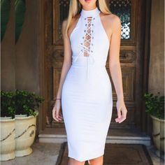 White Halter Lace Up Front Women Bodycon Dress