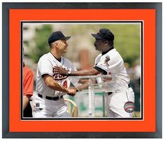 """Cal Ripken Jr. and Eddie Murray 3000th Hit Club and Hall of Famers - 11"""" x 14"""" Framed/Matted Photo"""