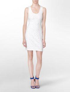 ShopStyle: Sleeveless Lace Front Shift Dress