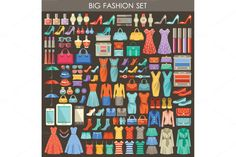 Big fashion flat set by GurZZZa on Creative Market