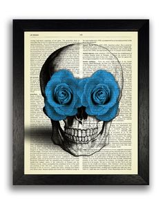 Candy Skull with Blue Roses Art Print, Mexican Skull Poster, Gothic Skull Artwork, Anatomy Wall Decor, Skeleton Flower Decal, Cool Art Decor
