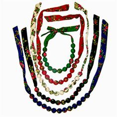 Polish Folk Cloth Necklaces