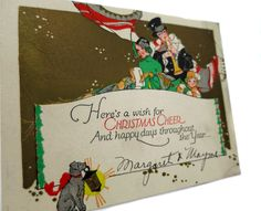 Charming Edwardian Era Embossed Christmas Card Featuring Christmas Carolers and their Amazing Trained Lantern Holding Dog by StructureandSpice on Etsy