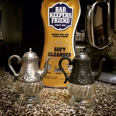 Bar Keepers Friend cleans these antique salt and pepper shakers to look nearly new.
