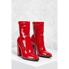 Forever21 Patent Faux Leather Sock Boots ($35) ❤ liked on Polyvore featuring shoes, boots, ankle booties, ankle boots, red, platform bootie, pointy-toe ankle boots, pointed toe booties, high heel booties and block heel bootie