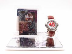 Mike Alsott Autographed Football Card In Case with Watch