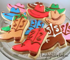 American theme : Cowboy boot and hat cookies, handmade & iced - One dozen via Etsy