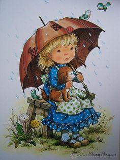 ...•:*¨.*:•....PRECIOSA POSTAL GRANDE SERIE MARY MAY COLECCION PERLA AÑOS 80...•:*¨.*:•... (Postales - Niños)