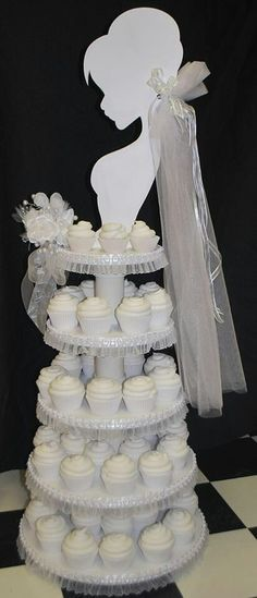 CUPCAKES~Wedding Cupcake Tower -love the silouette . cute idea for a shower. Cupcake Tower Wedding, Wedding Cupcakes, Wedding Cake, Cupcake Towers, Cupcake Stands, Birthday Cupcakes, Bridal Shower Cupcakes, Shower Cakes, Before Wedding