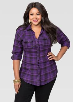 82b76d42e54 Cinch Back Flannel Shirt Cinch Back Flannel Shirt Fashionable Plus Size  Clothing
