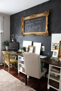 Decoration, Cheap Basement Home Office Walls Remodeling By Paint One Of The Basement Walls With Chalkboard Paint Ideas ~ Beautiful Cheap Basement Remodeling Ideas for Livable Room Decor, Home Projects, Interior, Chalk Wall, Shared Home Offices, Basement Walls, Home Decor, House Interior, Office Walls