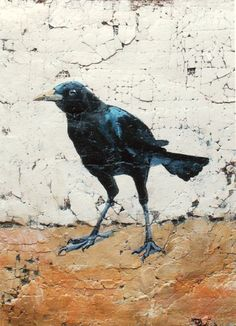 Crow Painting Bird Art Acrylic Mixed Media Painting by Diana Mulder