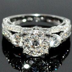]Bridal 3 Stone Style Vintage 2ctw Diamond Engagement Wedding Ring 14K White Gold: Jewelry