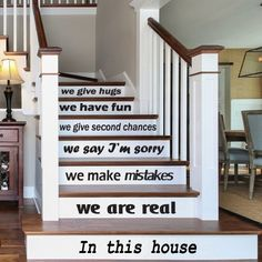 Wall Decal Decor Decals Sticker Art Vnyl Design Sign Custom Words Quote Stairs Family Love Rules in This House Home Bedroom Dorm (M1212) DecorWallDecals http://www.amazon.com/dp/B00M5W8EVI/ref=cm_sw_r_pi_dp_TeAhub04QHNKB