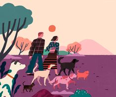 Dog-walking > bold and colorful #illustration by Philippines #artist Geraldine Sy
