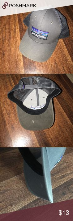 "Patagonia hat Gray distressed ""trucker"" style hat. The spot under the bill will most likely come out if washed in the dishwasher alone- but I do not know for sure Patagonia Accessories Hats"