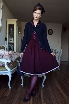 Back with my classic navy and plum combo for a nice dinner. Vintage, BY FANNYROSIE