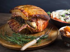 Garlic and Herb Roasted Pork Loin with Crackling and Spiced Apple Chutney Recipe   Serious Eats