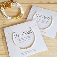 "Modern Friendship Bracelet with gold and glass seed beads in your color choice (see additional photos). Message card reads: Best Friends The only way to have a friend is to be one"" - Ralph Waldo Emerson Reel Line Jewelry friendship bracelets are handmade with love while"