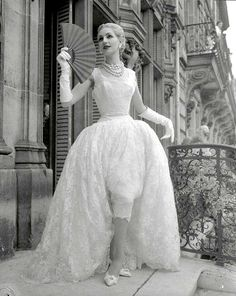 1954 - Givenchy Slim, Short, White-Lace Evening Dress with Billowing Long Overskirt, photo by Stephane Tavoularis, Paris,