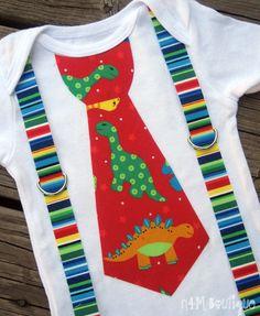 Dinosaur Tie with Stripe Suspenders Onesie or by nomies4monsters, $18.00