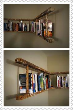 A creative book shelf made from an old ladder!