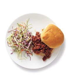 Turkey Sloppy Joes With Coleslaw|A mix of tomato sauce, barbecue sauce, and Worcestershire ensures this 15-minute sandwich is juicy and flavorful.