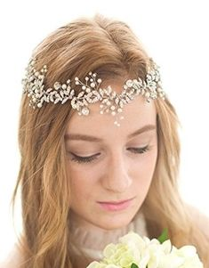 BABEYOND Crystal Wedding Headpiece Hair Vine Bridal Headband Bridesmaid  Hairband Crystal Floral Leaf Forehead Band with Lace Ribbon Silver c9dfa93f70d1