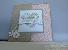 The Craft Spa - Stampin' Up! UK independent demonstrator - Order Stampin Up in UK: Bloomin' Love Mother's Day Square Joy Fold Card with Tutorial Joy Fold Card, Fun Fold Cards, Folded Cards, Mothers Day Cards, Happy Mothers Day, Valentine Heart, Valentines, Valentine Cards, Heart Cards