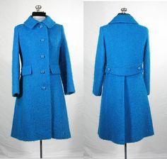Vintage 1960s turquoise boucle wool coat. by VintageRoseTattoo