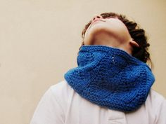 Bright blue cowl  Electric neon blue scarf for by theYarnKitchen