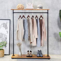 HANS CAO Heavy Iron Wood Clothes Rack, Garment Hanger, Floor Display Stand with Storage Shelf, Shoe Bag Display Rack, Retail Display Clothing Racks with Shelves Diy Storage, Storage Shelves, Bar Set Furniture, Bag Display, How To Iron Clothes, Garment Racks, Wardrobe Rack, Home Kitchens, Hanger