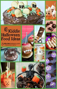 40 Kiddie Halloween Food Ideas : Need a kid friendly halloween snack idea? Check out these 40 adorable and edible snacks that you can your child can make together. Fun for the whole family Halloween Goodies, Halloween Snacks, Halloween Birthday, Spooky Halloween, Holidays Halloween, Happy Halloween, Halloween Projects, Halloween Stuff, Party Treats