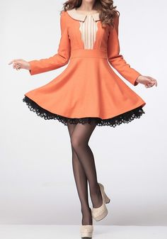 Orange Patchwork Lace Pleated Peter Pan Collar Wool Dress