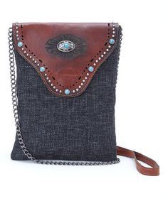Another great find on #zulily! Black & Brown Turquoise Stud Leather Crossbody Bag by I Love Accessories #zulilyfinds