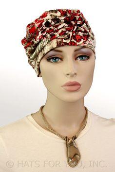$19.50 - Red Safari Shirred Cap     #cancer #chemo #alopecia #hair loss