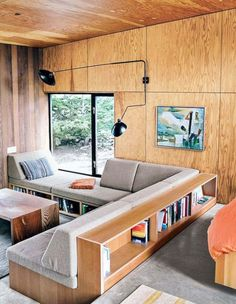 Would double as sleeping spots too! plywood walls and built-in seating in modern cabin / sfgirlbybay House, Home, Modern House, Modern Cabin, Built In Sofa, House Interior, Built In Seating, Plywood Interior, Furniture Design