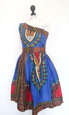 Colorful one shoulder afrikanische wax print dress von Urban-Apparel auf DaWanda.com