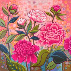 Coral Garden, Watercolor Painting Techniques, Canvas Art, Canvas Paintings, Bright Flowers, Chalkboard Art, Diy Wall Art, Whimsical Art, Flower Art