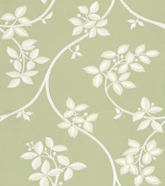 Ringwold (BP 1638) - Farrow & Ball Wallpapers - Ringwold is a meandering, playful tendrils and subtle two-tone leaf motif on a delicate trail. Made using white paints on a fresh green background - more colours are available. Please request a sample for true colour match.