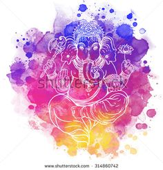 Hindu Lord Ganesha. Meditation concept. Vector illustration. Over colorful watercolor background.