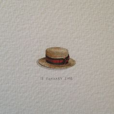 Day 15 : School started today. ✏ 19 x 11 mm. #365postcardsforants #miniature #watercolour #wdc624 #boater #hat #school  (at Kloof Street)