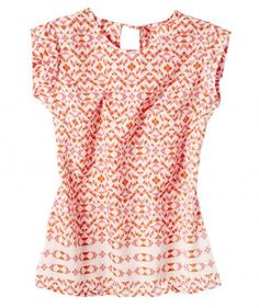 This vibrant coral-and-orange geo-print shell looks great alone, with a jean jacket, or a structured blazer. Its crepe material is thick enough to wear without a cami, and you get all the flow without the cling.
